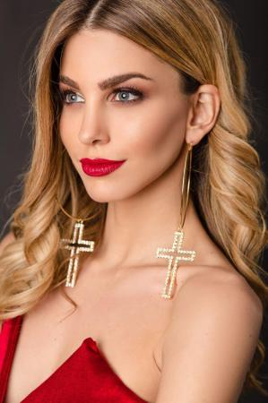 sweet madonna cross hoops by NATTY