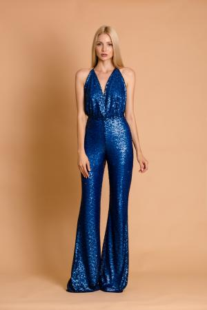 Crystal Blue Sequin Jumpsuit
