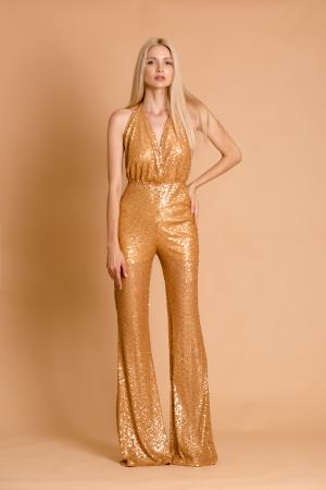Crystal Golden Sequin Jumpsuit
