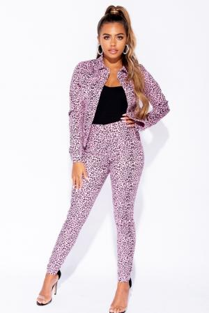Leopard Pink High Waisted Denim Troushers