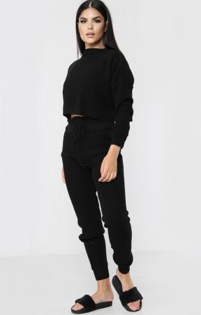 High Waisted Knitted Black Co-ord Set