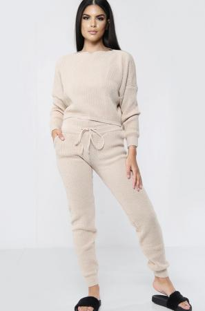 High Waisted Knitted Cream Co-ord Set
