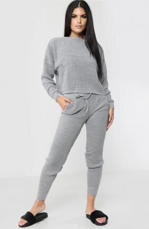 High Waisted Knitted Grey Co-ord Set