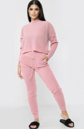 High Waisted Knitted Pink Co-ord Set
