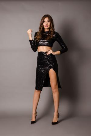 Iokasti Black Sequin Skirt and Top