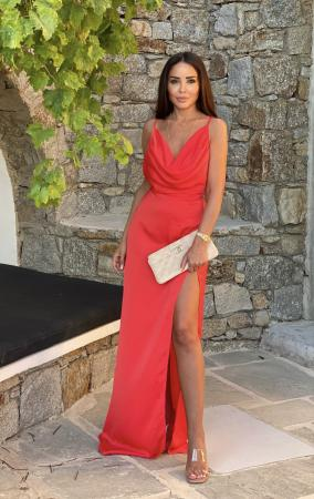 ANGEL Coral Red Maxi Dress