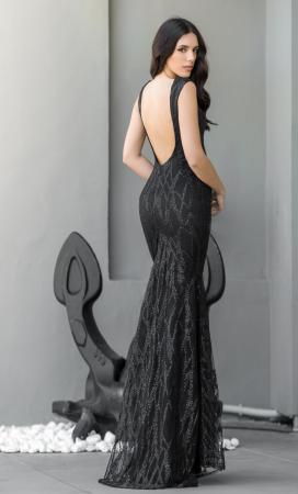 Black Dalia Embellishment Maxi Gown