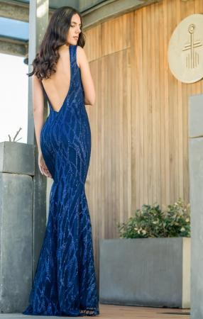 Blue Dalia Embellishment Gown