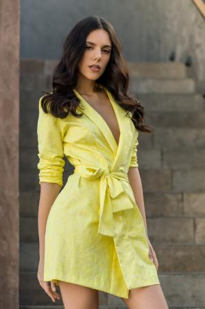 Celia Lemon Wrap Dress