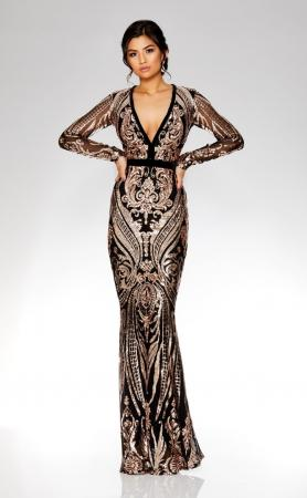 Deep V Sequin Embroidered Maxi Gown by GODDIVA