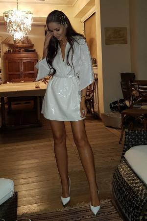 Irina White Sequin Kimono Dress