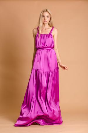 Joy Magenta Silk Maxi Dress