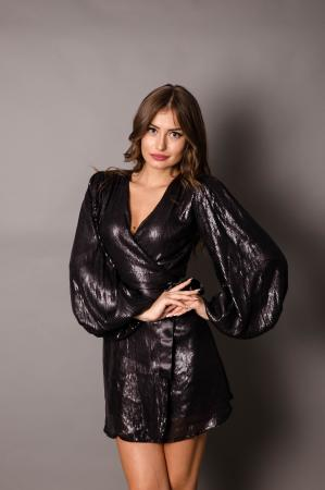 Melian Black Sequin Wrap Dress