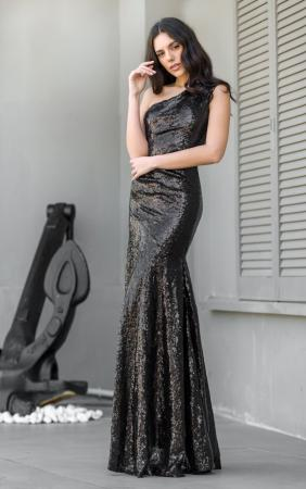 One Shoulder Sequin Fishtail Gown