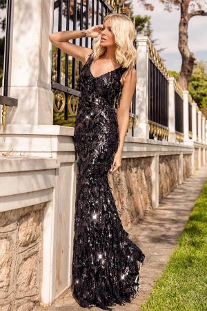 Sequin Fring Maxi Gown by GODDIVA