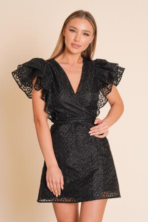SERINA black organza wrap dress