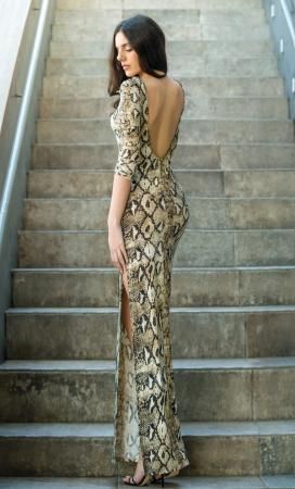 Snake pattern Backless Dress
