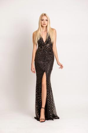 V Neck Sequin Maxi Gown with front split by GODDIVA