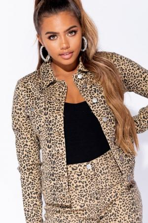 Leopard Nude Denim Jacket