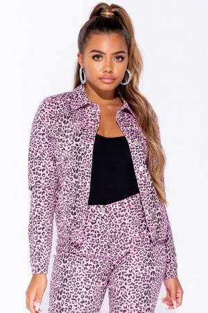 Leopard Pink Denim Jacket