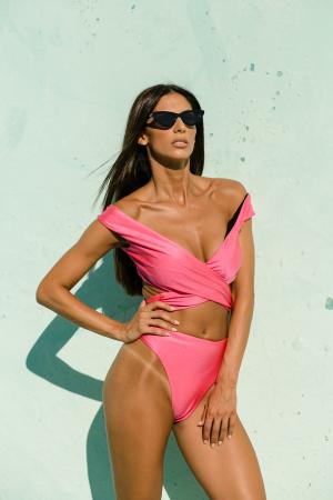 Hot Pink Wrap Multiway Suit by NATTY