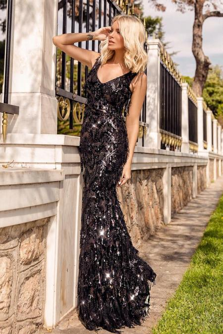 Sequin Fring Maxi Gown by GODDIVA | Φορέματα - Clothing |